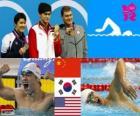 Podium Natação 400 m freestyle homens, Sun Yang (China), Park Tae-Hwan (Sul da Coréia) e Peter Vanderkaay (Estados Unidos) - Londres 2012-