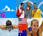 Podio Natação 100 m estilo borboleta feminina, Dana Vollmer (Estados Unidos), Lu Ying (China) e Alicia Coutts (Austrália) - Londres 2012-
