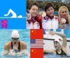 Podium natação 400m individual feminina combinado, Shiwen Ye (China), Elizabeth Beisel (Estados Unidos) e Li Xuanxu (China) - Londres 2012