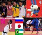Pódio judô - 60 kg masculino, Arsen Galstian (Rússia), Hiroaki Hiraoka (Japão) e Philip Kitadai (Brasil), (Uzbequistão) - Londres 2012 - Rishod Sobirov