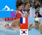 200M freestyle pódio natação Masculino, Yannick Agnel (França), Sun Yang (China) e Park Tae-Hwan (Coreia sul) - Londres 2012-