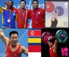 Pódio Halterofilismo até 62 kg masculino, Kim Un-Guk (Coreia do Norte), Oscar Figueroa (Colômbia) e Eko Yuli Irawan (Indonésia) - Londres 2012-