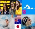Podio natação 100m estilo costas mulheres, Missy Franklin (Estados Unidos), Emily Seebohm (Austrália) e Aya Terakawa (Japão) - Londres 2012-