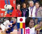 Judô de pódio Feminino - 57kg, Kaori Matsumoto (Japão), Corina Căprioriu (Roménia) e Marti Malloy (EUA), Automne Pavia (França) - Londres 2012-