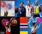 Pódio halterofilismo até 58 kg feminino, Li Xueying (China), Pimsiri Sirikaew (Tailândia) e Yulia Kalina (Ucrânia) - Londres 2012-
