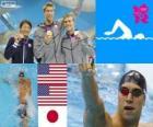 Podio natação 100m estilo costas masculinos, Matt Grevers, Nick Thoman (Estados Unidos) e Ryosuke Irie (Japão) - Londres 2012-