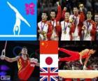 Podio Ginástica artística masculina equipes, China, Japão e Reino Unido - Londres 2012-