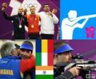 Podio tiro, Carabina de ar 10 m masculino, Alin George Moldoveanu (Roménia), Niccolo Campriani (Itália) e Gagan Narang (Índia) - Londres 2012 - do desportivo de pódio