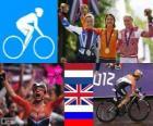 Pódio ciclismo corrida em estrada feminina, Marianne Vos (Holanda) Elizabeth Armitstead (Reino Unido) e Olga Zabelinskaya (Rússia) - Londres 2012-