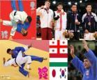 -Pódio Judo 66 kg masculino, Lasha Shavdatuasvili (Georgia), Miklos Ungvari (Hungria) e Masashi Ebinuma (Japão), Cho Jun-Ho (Coréia do Sul) - Londres 2012-
