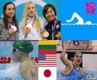 Podio natação 100 m bruços femininos, Rūta Meilutytė (Lituânia), Rebecca Soni (Estados Unidos) e Satomi Suzuki (Japão) - Londres 2012-