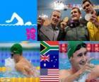 Podium natação 100 m bruços masculino, Cameron van der Burgh (África do Sul), Christian Sprenger (Austrália) e Brendan Hansen (Estados Unidos) - Londres 2012 - estilo