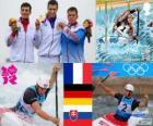 Podio C1 canoagem slalom masculino, Tony Estanguet (França), Sideris Tasiadis (Alemanha) e Michal Martikán (Eslováquia) - Londres 2012-