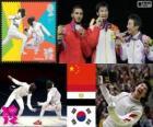 Podio esgrima florete individual masculino, Lei Sheng (China), Abuelkasem Alaaeldi (Egito) e Choi Byung-Chul (Coréia do Sul) - Londres 2012-