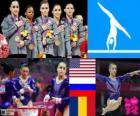 Podio ginástica artística por equipes feminino, Estados Unidos, Rússia e Roménia - Londres 2012-