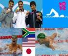 Podium Natação 200 m borboleta masculino, Chad le Clos (África do Sul), Michael Phelps (Estados Unidos) e Takeshi Matsuda (Japão) - Londres 2012-