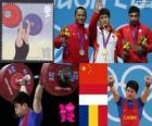 Pódio Halterofilismo 69 kg homens, Lin Qingfeng (China), Triyatno Triyatno (Indonésia) e Constantin Martin (Romênia) - Londres 2012 -