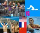 Podium natação masculina de revezamento 4 x 200 metros livres, Estados Unidos, França e China - Londres 2012-