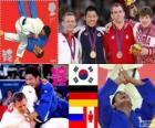 Podio judô masculino - 81 kg, Jae-Bum Kim (Coréia do Sul), Ole Bischof (Alemanha) e Ivan Nifontov (Rússia), Antoine Valois-Fortier (Canadá) - Londres 2012-