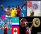 Podio Halterofilismo Até 63 kg feminina, Mauá Marques (Cazaquistão), Svetlana Tsarukayeva (Rússia) e Christine Girard (Canadá) - Londres 2012-