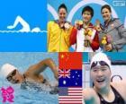 Podium Natação 200m individual feminina combinado, Shiwen Ye (China), Alicia Coutts (Austrália) e Caitlin Leverenz (Estados Unidos) - Londres 2012-