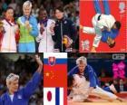 Podio Judô feminino - 63 kg, Urška Žolnir (Eslovénia), Xu Lili (China) e Gevrise Emane (França), Yoshie Ueno (Japão) - Londres 2012-