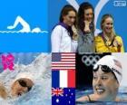 Podio natação 200 m livre feminino, Allison Schmitt (Estados Unidos), Camille Muffat (França) e Bronte Barratt (Austrália) - Londres 2012-