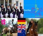 Podio hipismo CCE por equipes, Alemanha, Reino Unido e Nova Zelândia - Londres 2012-