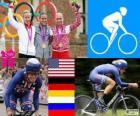 Pódio ciclismo de estrada contra o relógio feminino, Kristin Armstrong (Estados Unidos), Judith Arndt (Alemanha) e Olga Zabelinskaya (Rússia) - Londres 2012-