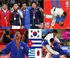 Pódio judô Masc - 90 kg, Debora González (Cuba), Masashi Nishiyama (Japão) - Londres 2012 - e Ilias Iliadis (Grécia), Song Dae-Nam (Coréia do Sul)