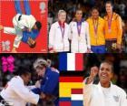 Pódio Judô Feminino - 70 kg, Lucie Zeal (França), Kerstin Thiele (Alemanha) e Yuri Alvear (Colômbia), Edith Bosch (Holanda) - Londres 2012-