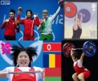 Podio Halterofilismo até 69 kg feminina, Rim Jong-Sim (Coreia do Norte), Roxana Cocoş (Roménia) e Maryna Shkermankova (Bilorrusia) - Londres 2012-