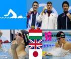 Podium natação 200 m bruços masculino, Daniel Gyurta (Hungria), Michael Jamieson (Reino Unido) e Ryo Tateishi (Japão) - Londres 2012-