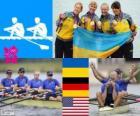 Pódio Remo Skiff quádruplo feminino, Ucrânia, Alemanha e Estados Unidos - Londres 2012-