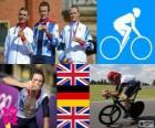 Pódio ciclismo de estrada contra o relógio homens, Bradley Wiggins (Grã-Bretanha), Tony Martin (Alemanha) e Christopher Froome (Reino Unido) - Londres 2012-