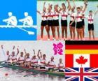 Pódio masculino de Remo coxed oito, Alemanha, Canadá e Reino Unido - Londres 2012-