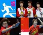 Pódio Tênis de mesa individual feminino, Li Xiaoxia, Ding Ning (China) e Feng Tianwei (Cingapura) - Londres 2012 -