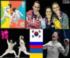 Pódio Esgrima sabre individual feminino, Kim Ji-Yeon (Coreia do Sul), Sofia Velikaya (Rússia) e Olga Jarlan (Ucrânia) - Londres 2012-