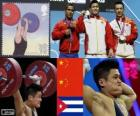 Pódio Halterofilismo 77 kg masculino, Lu Xiaojun, Wu Jingbao (China) e alterar de Iván Rodríguez (Cuba) - Londres 2012 -