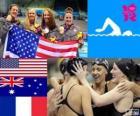 Podium natação revezamento 4 x 200 metros livre feminino, Estados Unidos, Austrália e França
