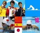 Podium Natação 200 m borboleta mulheres, Jiao Liuyang (China), Mireia Belmonte (Espanha) e Natsumi Koshi (Japão) - Londres 2012-