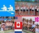 Pódio Remo 8 com timoneiro feminino, Estados Unidos, Canadá e Países Baixos - Londres 2012 -
