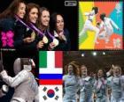 Pódio Esgrima florete por equipes feminino, Itália, Rússia e Coréia do Sul - Londres 2012-