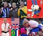 Pódio Judô feminino - 78 kg, Kayla Harrison (Estados Unidos), Gemma Gibbons (Reino Unido) e Mayra Aguiar (Brasil), Audrey (França) - Londres 2012 - Tcheumeo