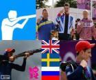 Pódio tiro fossa olímpica dublê masculinoo, Peter Robert Wilson (Reino Unido), Hakan Dahlby (Suécia) e Vasily Mosin (Rússia) - Londres 2012-