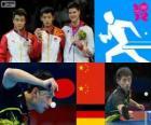 Pódio Ténis de mesa individual masculino, Zhang Jike, Wang Hao (China) e Dimitrij Ovtcharov (Alemanha) - Londres 2012-