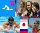 Podio natação 200 m bruços femininos, Rebecca Soni (Estados Unidos), Satomi Suzuki (Japão), Yulia Efimova (Rússia) - Londres 2012-