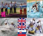 Pódio C2 slalom masculino canoagem, Tim Baillie e Etienne Stott e David Florença, Richard Hounslow (Reino Unido), Pavol Hochschorner e Peter Hochschorner (Eslováquia) - Londres 2012-