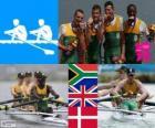 Pódio Remo leve timoneiro 4, África do Sul, Reino Unido e Dinamarca - Londres 2012 -