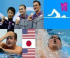 Podio natação 200m estilo costas masculinos, Tyler Clary (Estados Unidos), Ryosuke Irie (Japão) e Ryan Lochte (Estados Unidos) - Londres 2012-